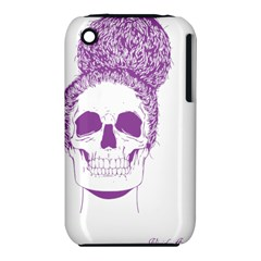 Purple Skull Bun Up Apple iPhone 3G/3GS Hardshell Case (PC+Silicone)