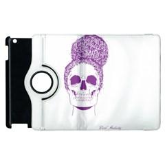 Purple Skull Bun Up Apple Ipad 3/4 Flip 360 Case