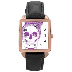 Purple Skull Bun Up Rose Gold Leather Watch