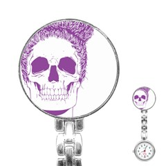 Purple Skull Bun Up Stainless Steel Nurses Watch