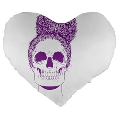 Purple Skull Bun Up 19  Premium Flano Heart Shape Cushion