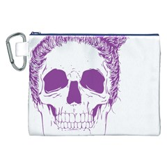 Purple Skull Bun Up Canvas Cosmetic Bag (XXL)