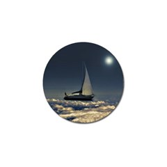 Navigating Trough Clouds Dreamy Collage Photography Golf Ball Marker
