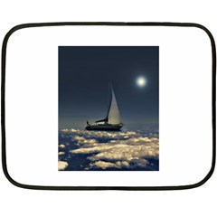 Navigating Trough Clouds Dreamy Collage Photography Mini Fleece Blanket (Two Sided)