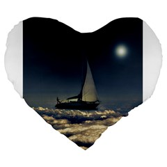 Navigating Trough Clouds Dreamy Collage Photography 19  Premium Heart Shape Cushion