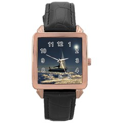 Navigating Trough Clouds Dreamy Collage Photography Rose Gold Leather Watch