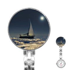 Navigating Trough Clouds Dreamy Collage Photography Stainless Steel Nurses Watch