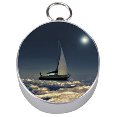 Navigating Trough Clouds Dreamy Collage Photography Silver Compass