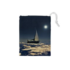 Navigating Trough Clouds Dreamy Collage Photography Drawstring Pouch (Small)