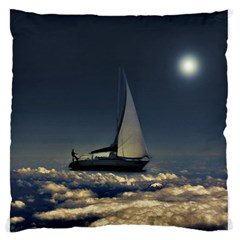 Navigating Trough Clouds Dreamy Collage Photography Large Flano Cushion Case (Two Sides)