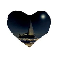 Navigating Trough Clouds Dreamy Collage Photography 16  Premium Flano Heart Shape Cushion