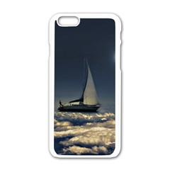 Navigating Trough Clouds Dreamy Collage Photography Apple Iphone 6 White Enamel Case