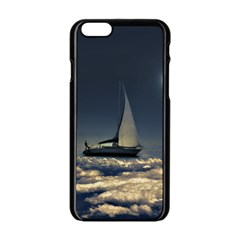 Navigating Trough Clouds Dreamy Collage Photography Apple iPhone 6 Black Enamel Case