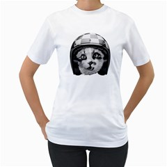 Biker Cat Women s T Shirt (white)