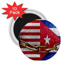 United States and Cuba Flags United Design 2.25  Button Magnet (10 pack)