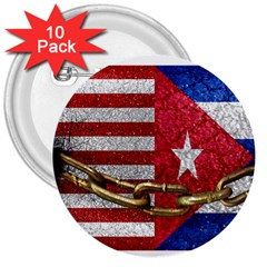 United States And Cuba Flags United Design 3  Button (10 Pack)