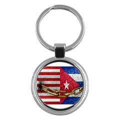 United States And Cuba Flags United Design Key Chain (round)