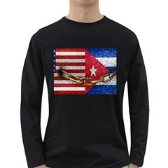United States And Cuba Flags United Design Men s Long Sleeve T Shirt (dark Colored)