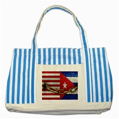 United States and Cuba Flags United Design Blue Striped Tote Bag