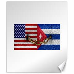 United States and Cuba Flags United Design Canvas 20  x 24  (Unframed)