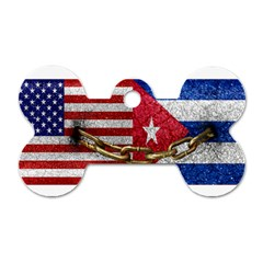 United States And Cuba Flags United Design Dog Tag Bone (two Sided)