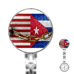 United States and Cuba Flags United Design Stainless Steel Nurses Watch