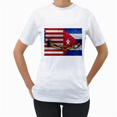 United States and Cuba Flags United Design Women s T-Shirt (White)