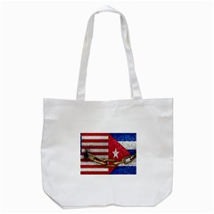 United States and Cuba Flags United Design Tote Bag (White)