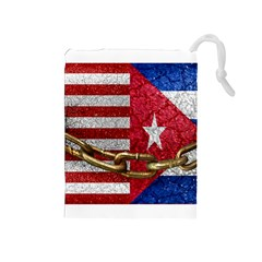 United States and Cuba Flags United Design Drawstring Pouch (Medium)