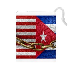 United States and Cuba Flags United Design Drawstring Pouch (Large)