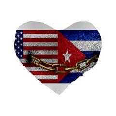 United States And Cuba Flags United Design 16  Premium Flano Heart Shape Cushion