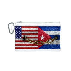 United States and Cuba Flags United Design Canvas Cosmetic Bag (Small)