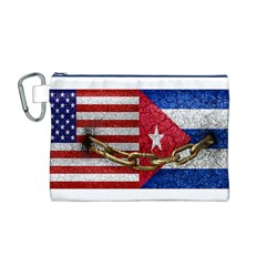 United States and Cuba Flags United Design Canvas Cosmetic Bag (Medium)