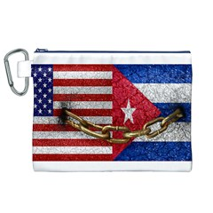 United States And Cuba Flags United Design Canvas Cosmetic Bag (xl)