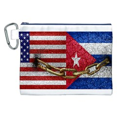United States and Cuba Flags United Design Canvas Cosmetic Bag (XXL)