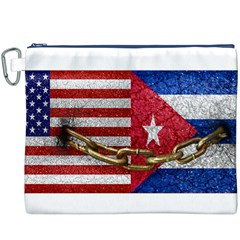 United States and Cuba Flags United Design Canvas Cosmetic Bag (XXXL)