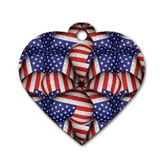 Modern Usa Flag Pattern Dog Tag Heart (two Sided)