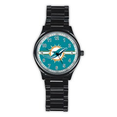 Miami Dolphins National Football League Nfl Teams Afc Sport Metal Watch (black)