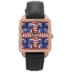 Modern Usa Flag Pattern Rose Gold Leather Watch