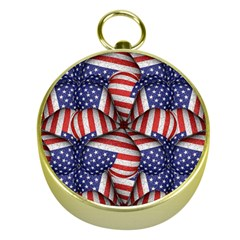Modern Usa Flag Pattern Gold Compass