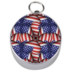 Modern Usa Flag Pattern Silver Compass