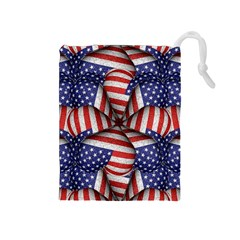 Modern Usa Flag Pattern Drawstring Pouch (medium)