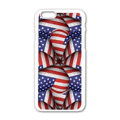 Modern Usa Flag Pattern Apple iPhone 6 White Enamel Case
