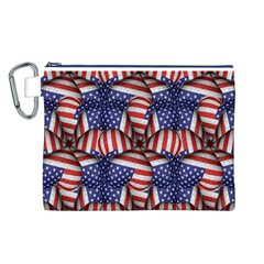 Modern Usa Flag Pattern Canvas Cosmetic Bag (Large)
