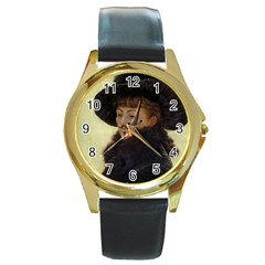 Kathleen Anonymous Ipad Round Leather Watch (gold Rim)