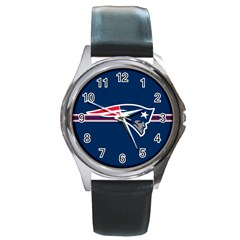 New England Patriots National Football League Nfl Teams Afc Round Leather Watch (Silver Rim)