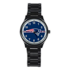 New England Patriots National Football League Nfl Teams Afc Sport Metal Watch (black)