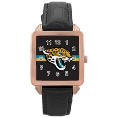 Jacksonville Jaguars National Football League Nfl Teams Afc Rose Gold Leather Watch