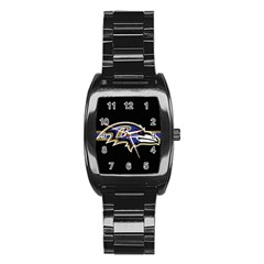 Baltimore Ravens National Football League Nfl Teams Afc Stainless Steel Barrel Watch