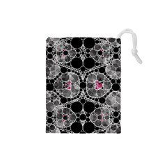 Bling Black Grey  Drawstring Pouch (Small)